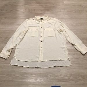 H&M Long Sleeve Sheer Button Up Blouse Ivory Top
